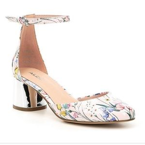Aldo floral heels with silver detail on heel